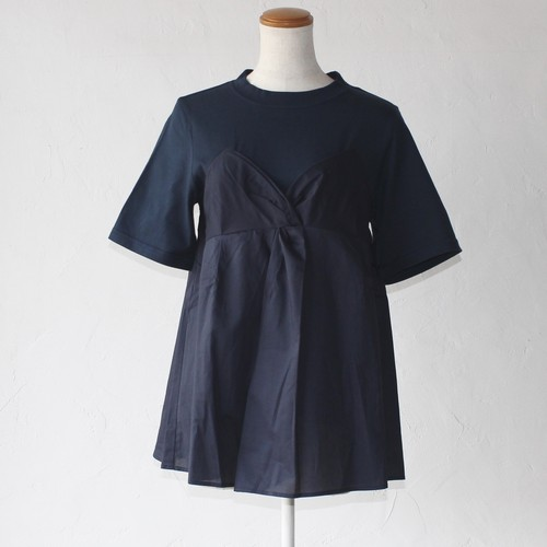 【MUVEIL】リボンディティールtee-navy