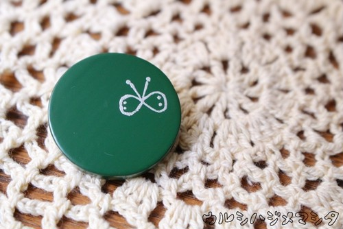 漆塗り丸ブローチ・蝶々【緑】/Round Pin Brooch in colored-URUSHI w/betterfly(Green)
