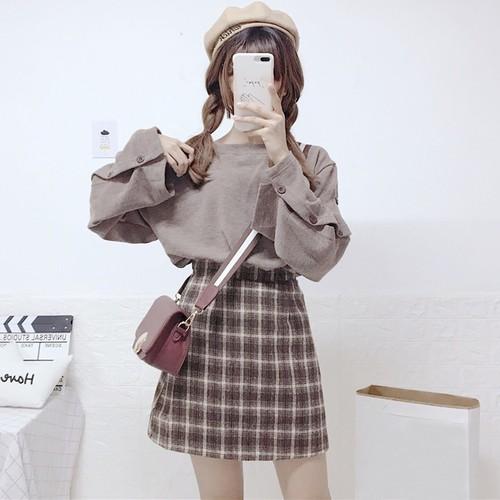 【 セットアップ】無地キュート長袖シャツ+チェック柄スカート二点セット