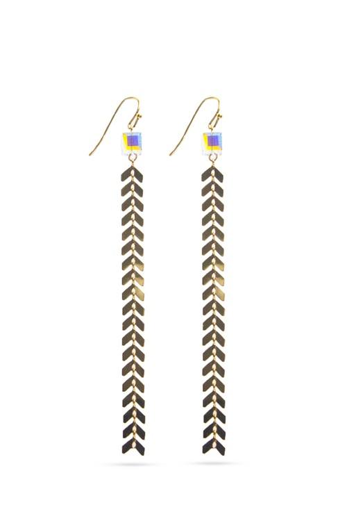 Swarovski Cube Arrow Chain Hook Earrings