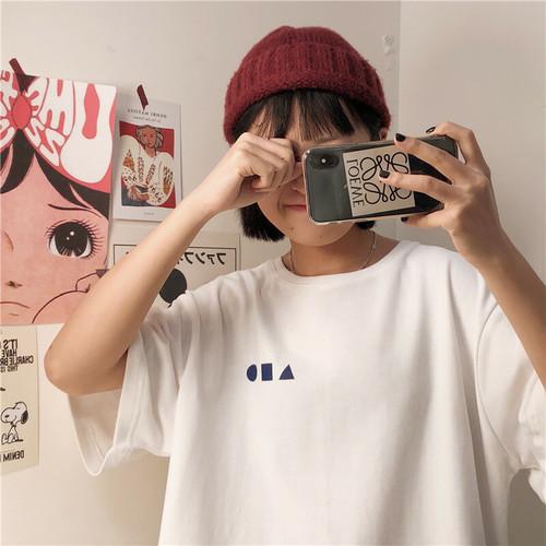 【送料無料】メンズライクコーデに♡ おしゃれな●■▲マーク オーバーサイズ Tシャツ