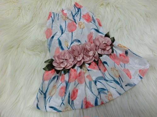 ★かわいい犬服ワンピ/ドレス  チューリップフラワーワンピ
