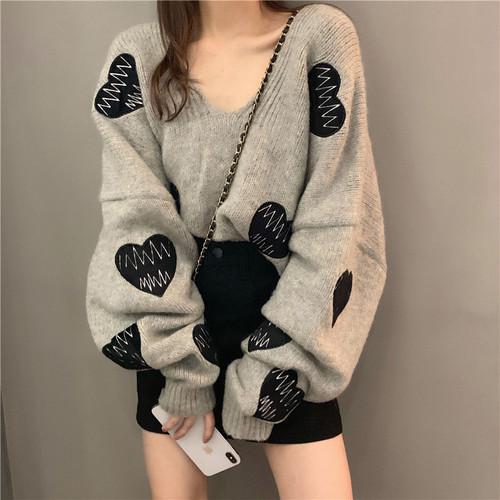 【トップス】ハート柄Vネックゆったりファッション韓国系ストリート系合わせやすい学園風長袖セーター23356628