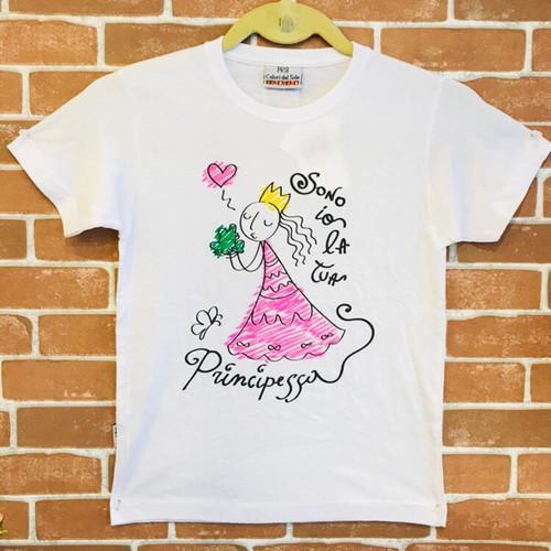 Item467T イタリア シチリア島から来た ファミリーでお揃いのTシャツ sono io la tua principessa(わたしはプリンセス) ベビー用