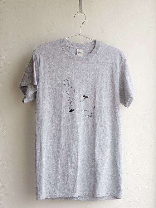 「Dancing with cat」Tシャツ グレー