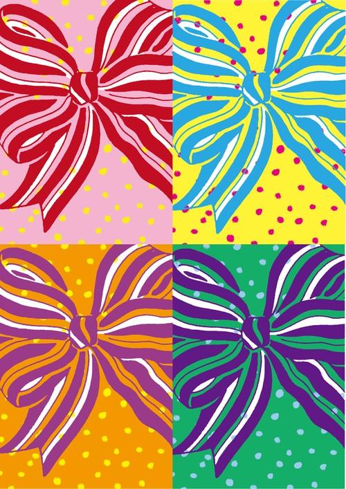 ■リリース記念4種類set A4用紙 089-092【Happy ribbon】5枚×4種 1500円