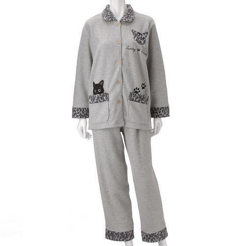 【お取り寄せ】ねこパジャマ シャツタイプ  グレー