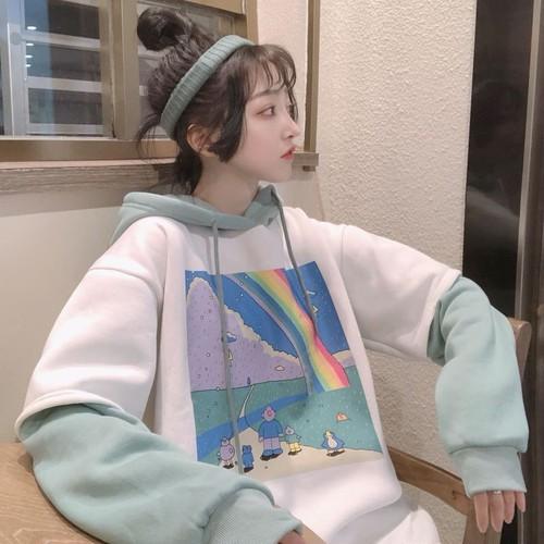 【トップス】フェイクレイヤード韓国系プリントカートゥーンパーカー