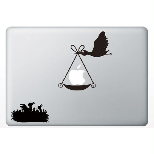 MacBook Air/Pro 13インチ用背面デザインステッカー「りんごを運ぶ鳥」