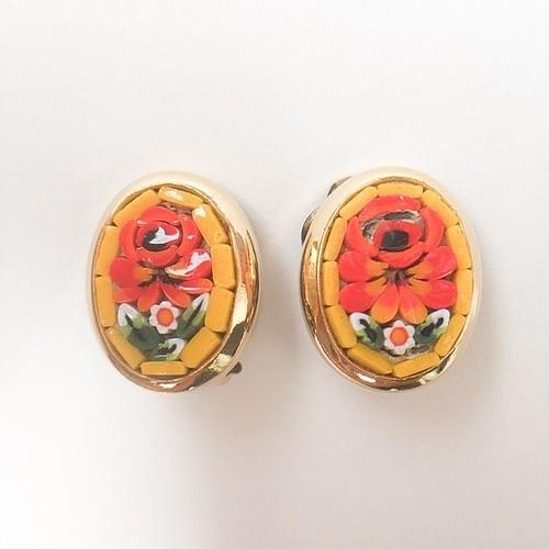 micro mosaic yellow flower earring[e-914]