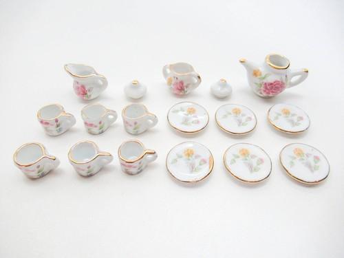ミニチュア 陶器◆可愛いティータイムセット プリント(AD014)【ミニチュア食器・ドールハウス】