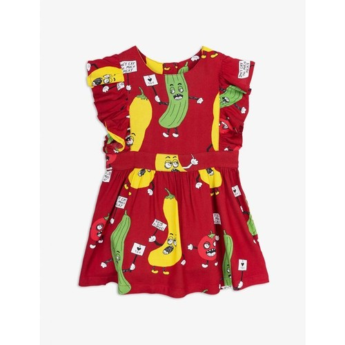 mini rodini / Veggie woven ruffled dress[RED]