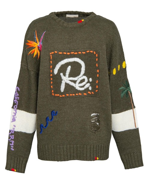 HAND-EMBROIDERY LOGO CREW KNIT[REK070]