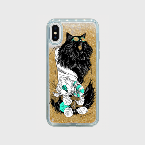 iPhoneX/XS ケース【glasses cattt】