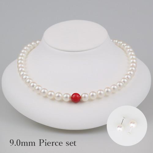 丹頂90P-set(Tanchou)【Akoya8.5-9.0mm/Coral10mm】Necklace & Pierce set