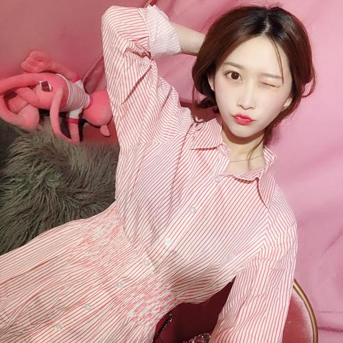 ウエストマーク ワンピース シャツ ストライプ ミニ カジュアル♡フェミニン