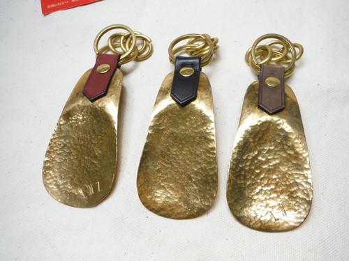 真鍮手打ち靴べら(シューホーン)× 真鍮手曲げリング×オイルレザー キーホルダー