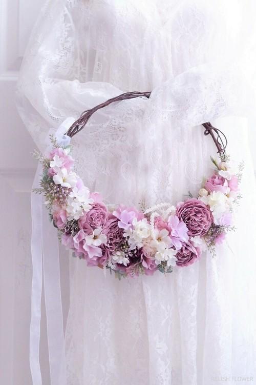 【 オーダーメイド・Kタイプ 】リースブーケ ・クレッセント 。アーティフィシャルフラワー造花のウェディングブーケ