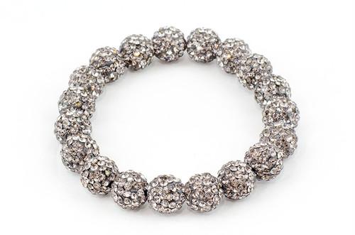 ラインストーンパヴェボール ブレスレット pve-brablackdiamond10 ブラックダイヤモンド 19玉 キラキラ ガラスストーン