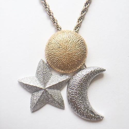 """Dior"" star moon sun necklace[n-228]"