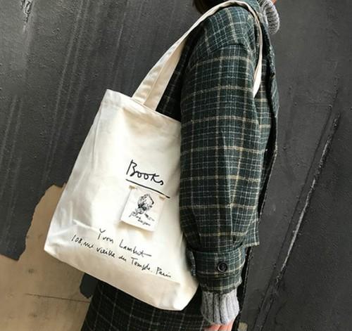 【送料無料】 お洒落な飾り付き♡ ロゴ トートバッグ キャンバス ショルダーバック 大容量