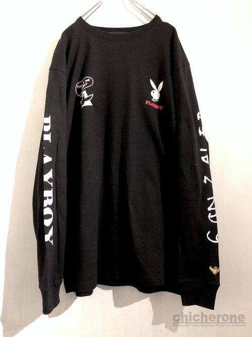 【MARK GONZALES】 MARK GONZALES×PLAYBOY   Backprint-Long Sleeve- BLACK