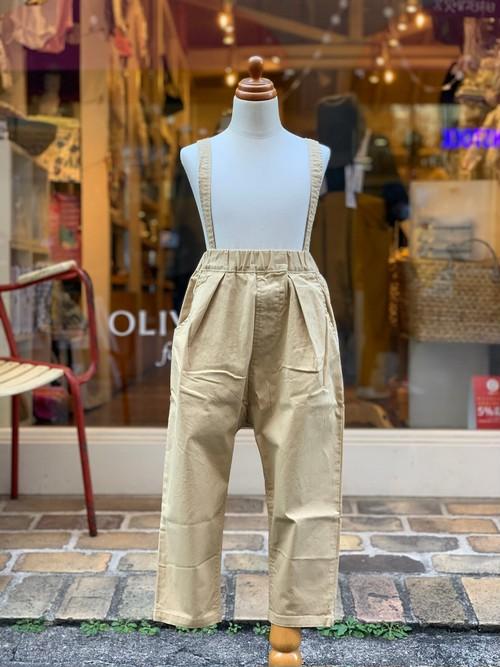 KIDS:NEEDLEWORKS【ニードルワークス】Stretch-chino suspender pants(BEIGE/90〜150cm)サスペンダーパンツ