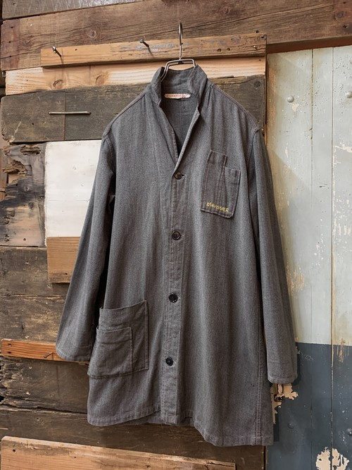 40-50's French black chambray coat