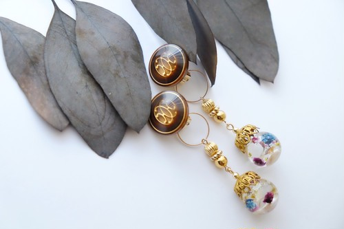 【イヤリングorピアス】vintage button chandelier