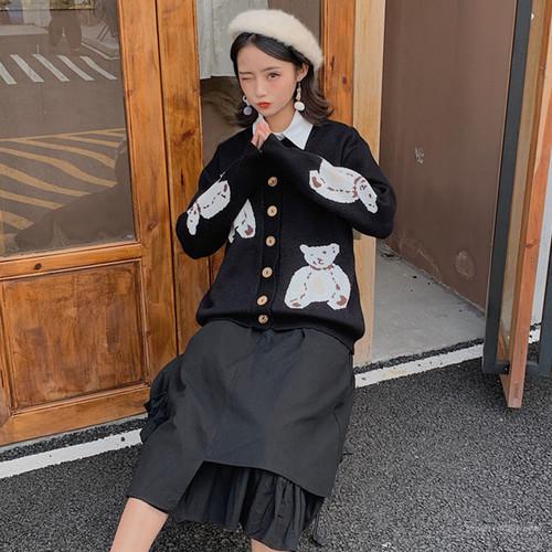 【セットアップ】キュート刺繍動物柄カーディガン+リボンスカート二点セット
