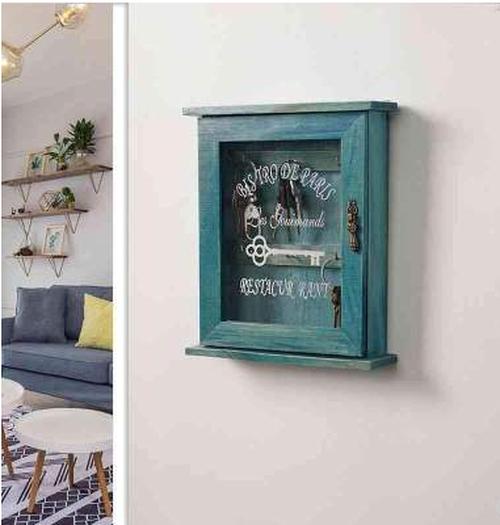 エメラルドグリーンのアンティーク風レトロキー収納ボックス★壁掛けリビングルームホーム仕上げ装飾