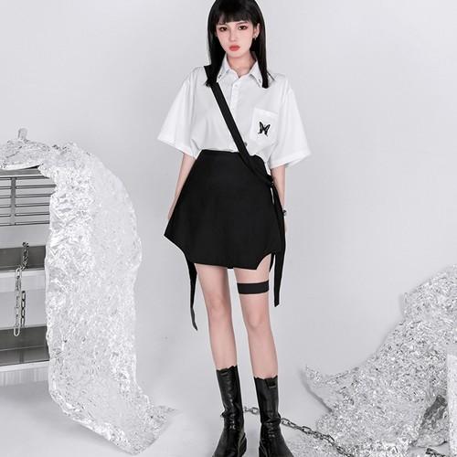 ゴスロリ系 シャツ 半袖 バタフライ 刺繍 病み可愛い JKスタイル ハードガール オルチャン 原宿系 10代 20代