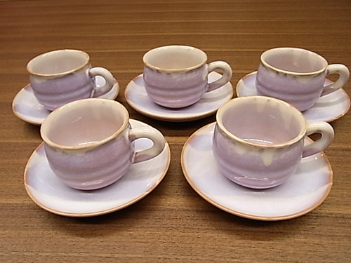 萩焼 むらさき コーヒーセット 5客揃