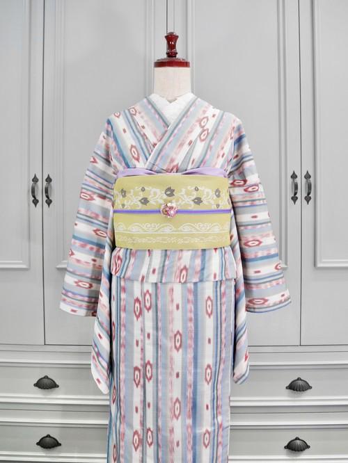 単衣*ロング*北欧風マルチストライプ紬 0182