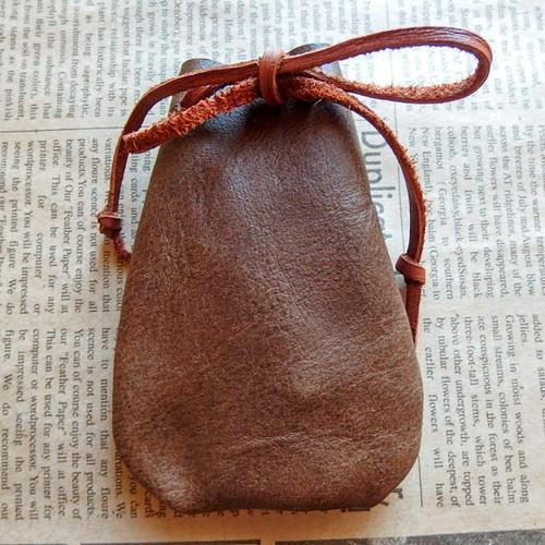 オーガニック鹿革ストーンバッグ、レザーポーチ 10×7cm アクセサリー用本革巾着袋 +*ハンドメイド No.5