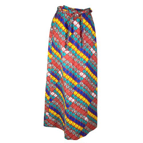 Iラインスカート 「ウェーブ」 ブルー x レッド x イエロー  / アフリカン エスニック ガーナ服 パーニュ バティック