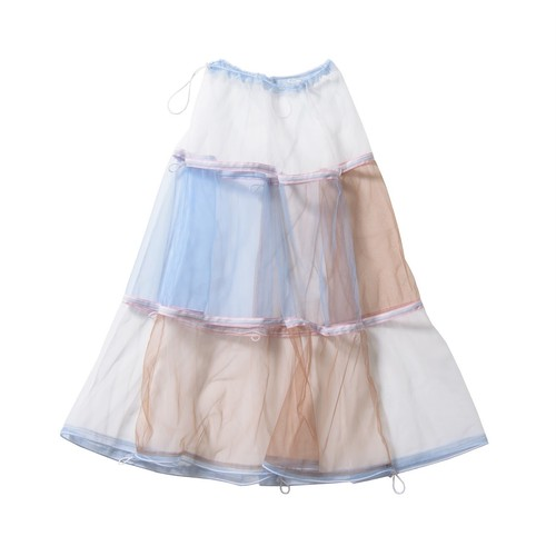 tulle long skirt #white×light blue