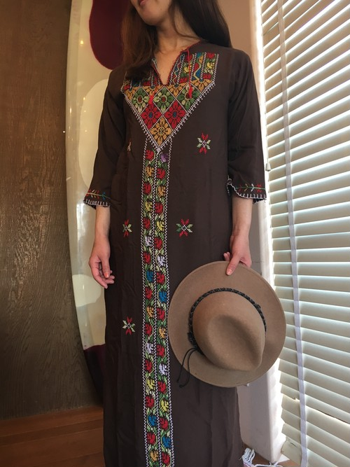 Beach line★Brown Embroidery Long dress