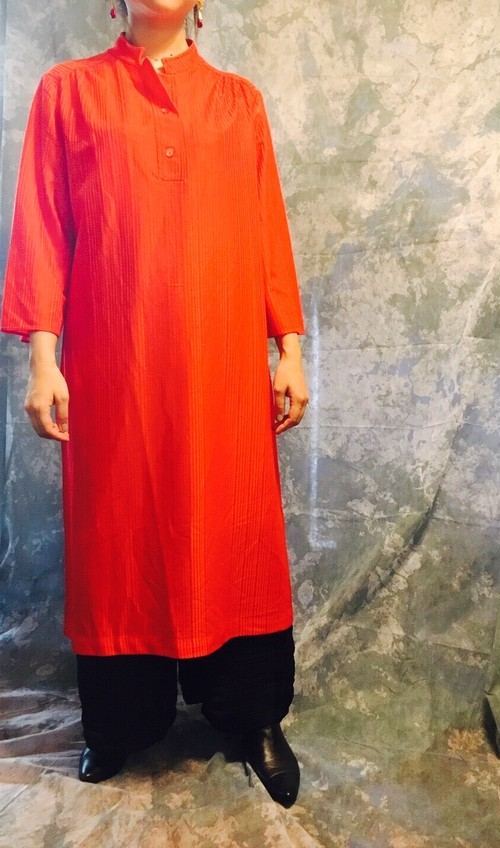 stylish line★simple red long shirt one-piece
