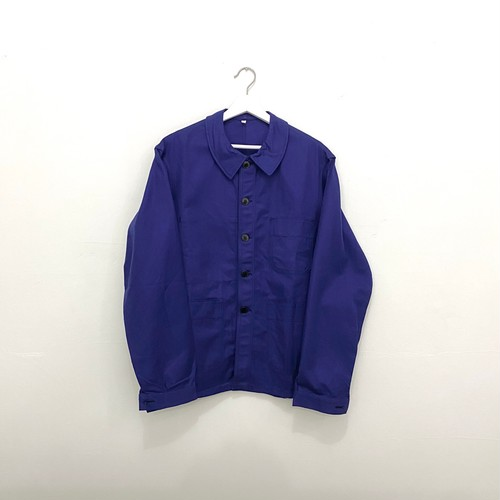 "FRANCE 60s~vintage""ADOLPHE LAFONT""ink blue cotton twill work jacket-DEADSTOCK-"