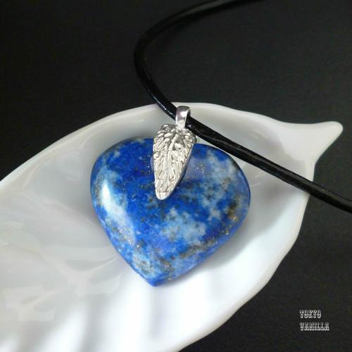 ハートのラピスラズリ - silver feather necklace