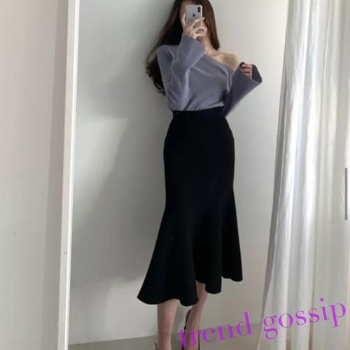 マーメードラインフリルニットスカート/2色展開/ワンサイズ/2020AW