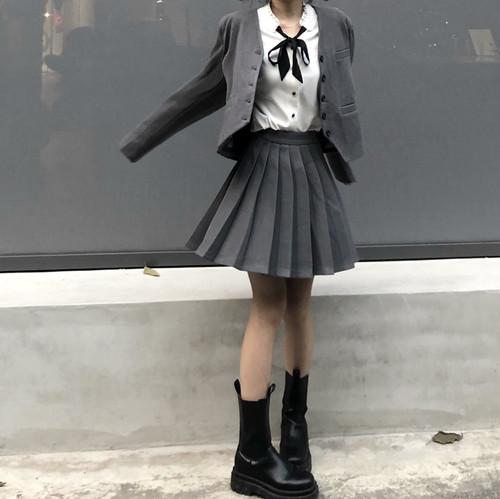 【3点セット】リボンブラウス+ジャケット+プリーツスカート ・18755