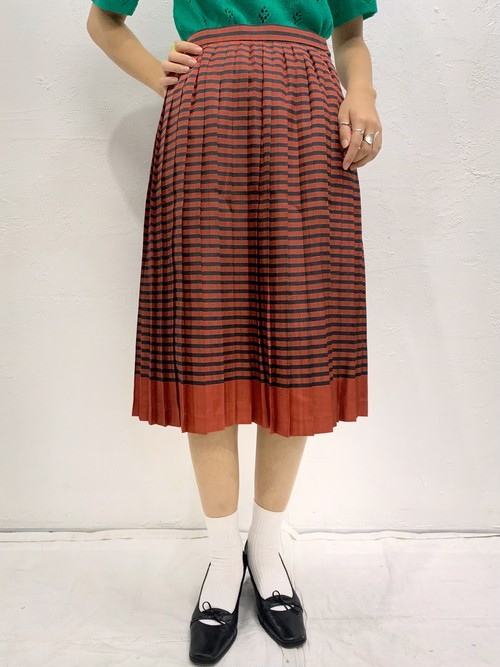 (TOYO) check pattern pleats flare skirt