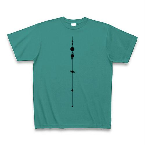 【天文学】太陽系Tシャツ(SolarSystem/PeacockGreen)