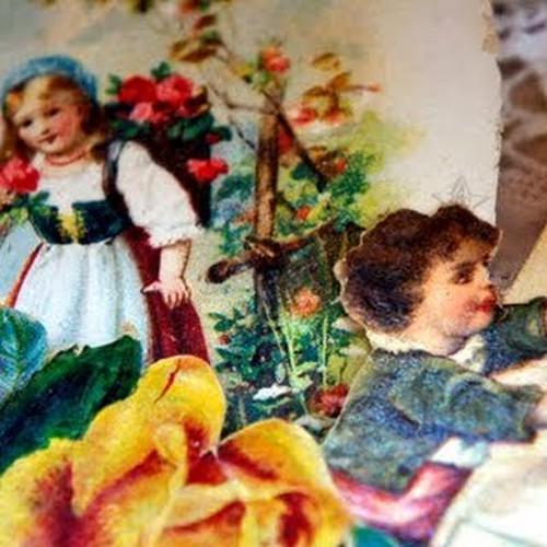 少女とバラのアンティーククロモスセット#1