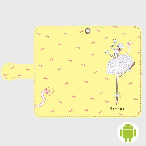 (Android)白い猫手帳型ケース