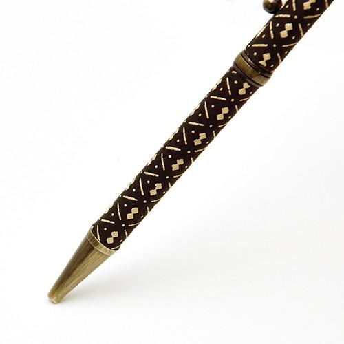 印伝油性ボールペン ひょうたん 黒革×白漆