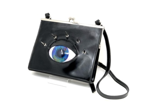 eye square metal clasp shoulder bag / blue marble