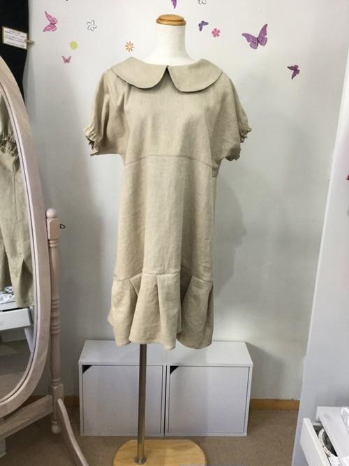 素朴な生地で作った上品な丸襟ワンピース②半袖(綿・レーヨン・麻)